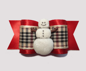 "#A6897 - 7/8"" Dog Bow - Classic Designer Plaid, Sparkly Snowman"