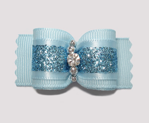 "#A6900 - 7/8"" Dog Bow - Powder Blue with Glitter, Rhinestone"