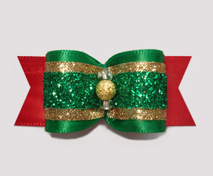 "#A6901 - 7/8"" Dog Bow - Festive Glitter, Green/Red/Gold"