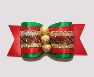 "#A6905 - 7/8"" Dog Bow - Classic Holidays, Triple Gold Stardust"