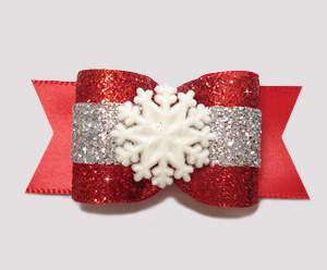 "#A6906 - 7/8"" Dog Bow - Holiday Glamour with Winter Snowflake"