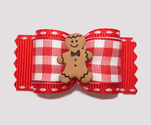 "#A6907 - 7/8"" Dog Bow- Red Gingham, Sweet Little Gingerbread Man"