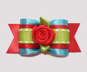 "#A6920- 7/8"" Dog Bow - Gorgeous Electric Blue/Green, Red Rosette"