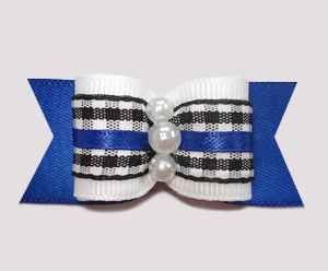 "#A6923 - 7/8"" Dog Bow - Classic B/W Gingham on Blue"