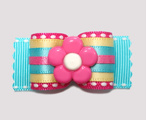 "#A6926 - 7/8"" Dog Bow- The Bold & The Beautiful, Hot Pink Flower"