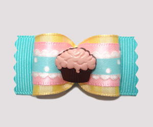 "#A6929 - 7/8"" Dog Bow - Country Cottage Ruffle, Pastels, Cupcake"