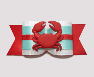 "#A6935 - 7/8"" Dog Bow - Cute Little Crab, Sea Green/Red"