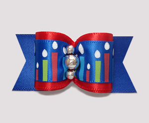 "#A6937 - 7/8"" Dog Bow - Happy Birthday Candles, Blue/Red"