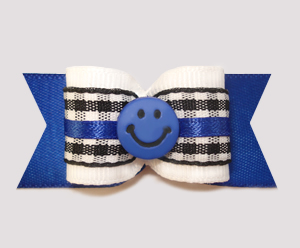 "#A6939 - 7/8"" Dog Bow - Classic B/W Gingham on Blue, Smiley Face"