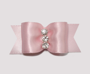 "#A6953 - 7/8"" Dog Bow - Gorgeous Baby Pink Satin, Rhinestones"