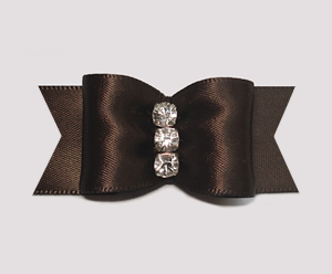 "#A6955 - 7/8"" Dog Bow - Gorgeous Rich Brown Satin, Rhinestones"