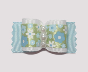 "#A6958 - 7/8"" Dog Bow - Forget Me Not Flower Garden, Soft Blue"