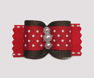 "#A6963 - 7/8"" Dog Bow - Sweetheart Dots, Red/White on Brown"