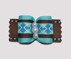 "#A6964 - 7/8"" Dog Bow - Gorgeous Preppy Blue & Brown Argyle"