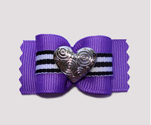 "#A6965 - 7/8"" Dog Bow - Unique, Deep Purple with Silver Heart"