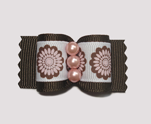 "#A6968 - 7/8"" Dog Bow - Retro Flower Power, Peach/Brown"