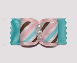 "#A6970 - 7/8"" Dog Bow - Candy Floss Stripe on Blue, Faux Pearls"