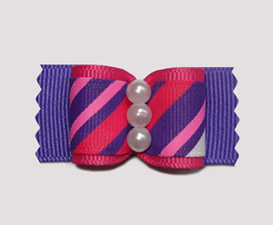"#A6971 - 7/8"" Dog Bow - Bold Fun Stripes, Hot Pink/Purple"