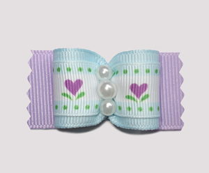 "#A6973 - 7/8"" Dog Bow - Sweet Flower Heart Garden, Blue/Lavender"