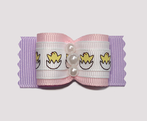 "#A6975 - 7/8"" Dog Bow- Cute Easter Baby Chicks, Pink on Lavender"