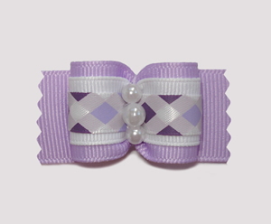 "#A6976 - 7/8"" Dog Bow - Preppy Purple Argyle, Faux Pearls"