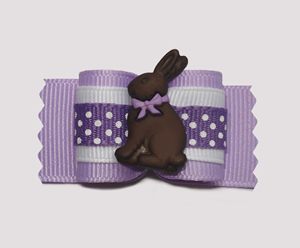 "#A6977 - 7/8"" Dog Bow - Sweet Chocolate Easter Bunny, Purple"