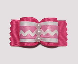 "#A6978 - 7/8"" Dog Bow - Not Shy Hot Pink with ZigZag"