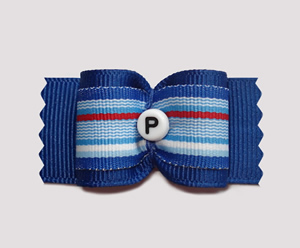 "#A6979- 7/8"" Dog Bow - Custom - Blue Stripe - Choose Your Letter"