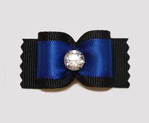 "#A6984 - 7/8"" Dog Bow - Gorgeous Black & Rich Blue with Bling"
