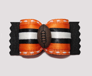 "#A6988 - 7/8"" Dog Bow - Football, Orange/Black"