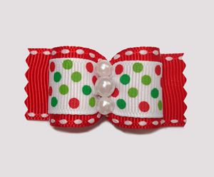 "#A6997 - 7/8"" Dog Bow - Candy Cane Dots on Red"