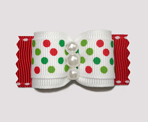"#A7002 - 7/8"" Dog Bow - Candy Cane Dots, White/Red"