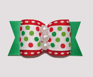 "#A7003 - 7/8"" Dog Bow - Candy Cane Dots on Green"