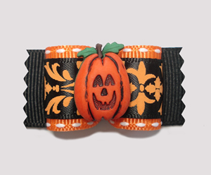"#A7009 - 7/8"" Dog Bow - Chic Halloween/Fall Pumpkin"