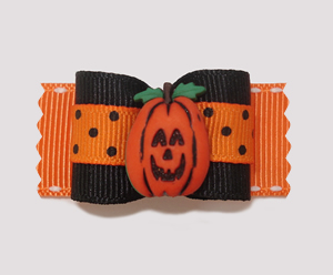 "#A7015 - 7/8"" Dog Bow - Happy Halloween/Fall Pumpkin"
