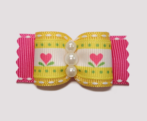 "#A7018- 7/8"" Dog Bow- Sweet Pink Heart Flowers on Yellow, Pearls"