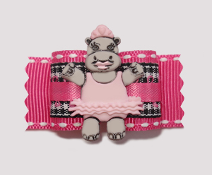 "#A7021- 7/8"" Dog Bow - Ballet Hippo, Black/White Gingham on Pink"