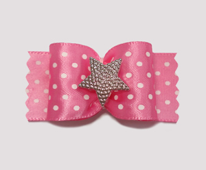 "#A7026- 7/8"" Dog Bow - Fit for a Star, Pink & White Dotted Satin"