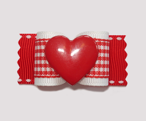 "#A7030 - 7/8"" Dog Bow - Sweet Heart, Red & White Gingham"