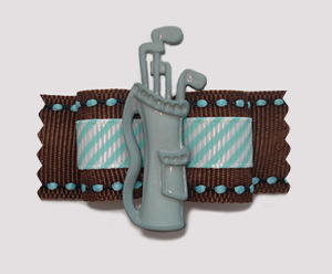 "#A7031 - 7/8"" Dog Bow - Golf Bag on Brown with Blue Accents"