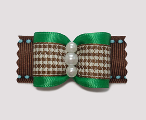 "#A7034 - 7/8"" Dog Bow - Charming Plaid, Rich Green Satin w/Brown"