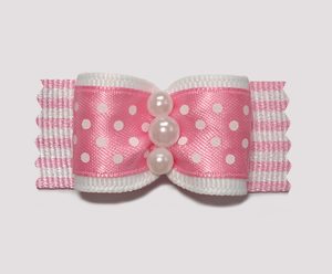 "#A7035 - 7/8"" Dog Bow - Pretty in Pink, Faux Pearls"
