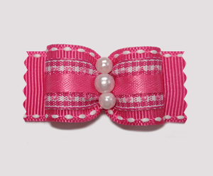 "#A7036 - 7/8"" Dog Bow - Adorable Pink/White Gingham, Faux Pearls"