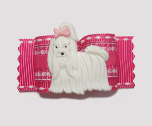 "#A7037 - 7/8"" Dog Bow - Pink/White Gingham, Sweet Maltese"
