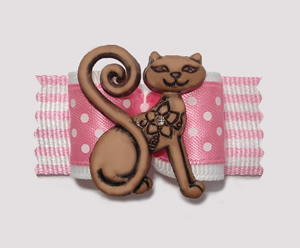 "#A7038 - 7/8"" Dog Bow - ""See I'm Purrfect"", Sweet Pink/White"