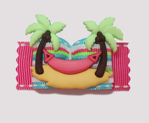 "#A7043 - 7/8"" Dog Bow - Palm Trees with Hammock, Beach Bow"