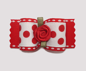 "#A7051 - 7/8"" Dog Bow - Sweetheart Red Dots, Red Rosette"