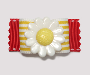 "#A7086 - 7/8"" Dog Bow - Delightful Daisy, Yellow Stripes, Red"