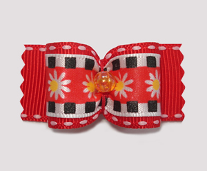 "#A7087 - 7/8"" Dog Bow - Mod Daisies on Red"