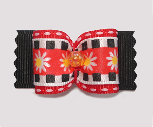 "#A7088 - 7/8"" Dog Bow - Mod Daisies on Black"